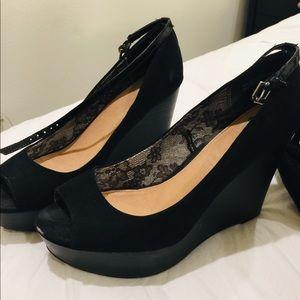 wedged high heels